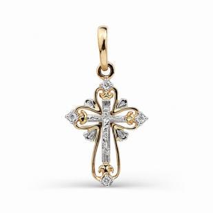 Красивый золотой крестик с бриллиантами