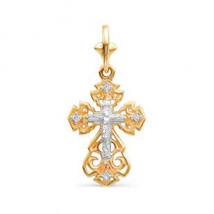 Крест золотой ажурный 4 бриллианта