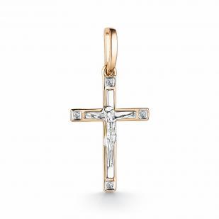 Прямой крест из золота с бриллиантами 33359-100 фото