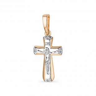 Крестик из золота с 4 бриллиантами 33845-100 фото
