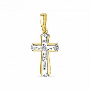 Крестик из желтого золота с 4 бриллиантами 33845-300 фото