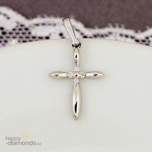 Декоративный крестик белое золото бриллианты