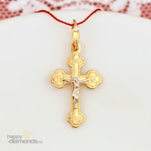 Православный золотой крестик бриллиант