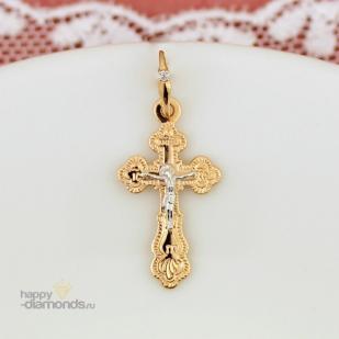 Золотой нательный крестик бриллиант