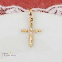 Декоративный золотой крестик бриллианты