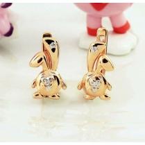 """Золотые серьги """"Зайчики"""" с бриллиантами"""