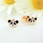 Серьги золотые Панда бриллиант