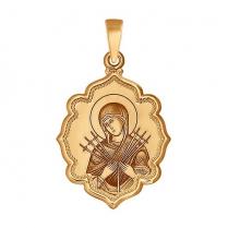 """Золотая иконка для детей """"Семистрельная Божья Матерь"""""""