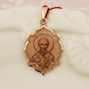 Золотой кулон Святой Николай Угодник