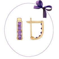 Серьги золотые с фиолетовыми камнями