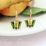 Золотые серьги бабочки с эмалью
