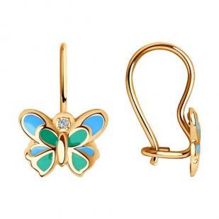 Серьги с бабочкой для девочки фото