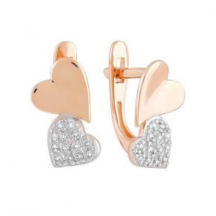 Золотые серьги два сердца
