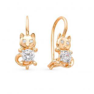 Детские золотые сережки Кошечки
