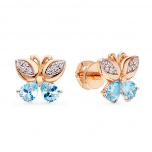 Золотые серьги голубая Бабочка