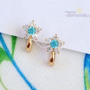 Золотые серьги Цветочки с голубыми фианитами фото