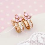 Золотые серьги с фианитами для девочки