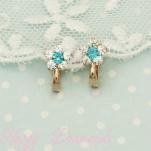 Золотые серьги Цветочки с голубыми фианитами