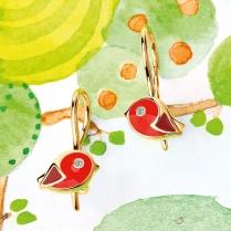 Золотые серьги Птички