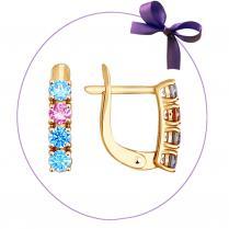 Золотые сережки с цветными камнями