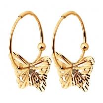 Золотые серьги-конго с Бабочками