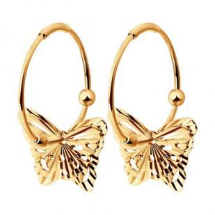 Золотые серьги-конго с Бабочками фото