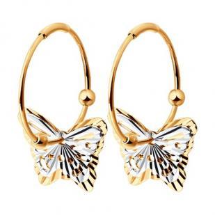 Золотые серьги-кольца Бабочки