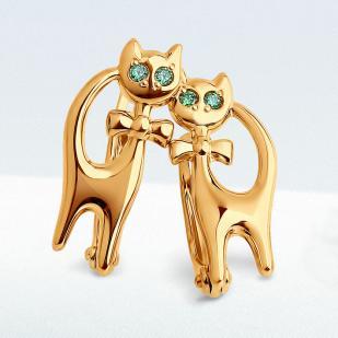 """Золотые серьги """"Кошки"""" с зелеными фианитами фото"""
