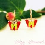 Детские золотые серьги в виде бабочек