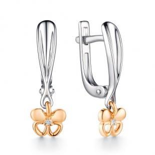 Серебряные серьги с золотом и бриллиантом Бабочка фото