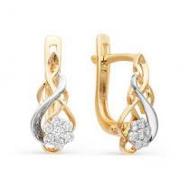 Золотые серьги с бриллиантами 21545-100
