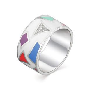 Кольцо мармеладка серебро эмаль