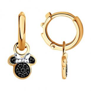 Серьги Минни маус с черными бриллиантами 7020096 фото