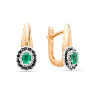 Золотые серьги изумруды и бриллианты 22462-101