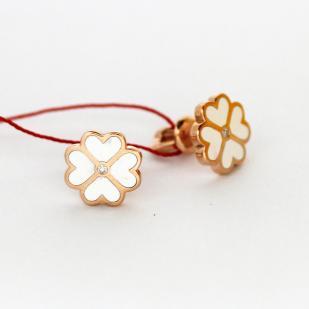 Золотые серьги Клевер с эмалью и бриллиантом