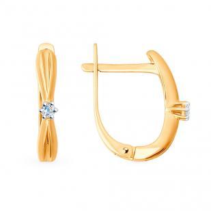 Серьги из розового золота с бриллиантами 1020889