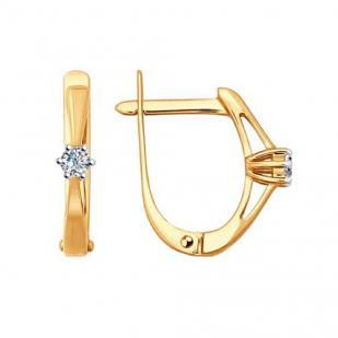Серьги классика из розового золота с бриллиантами 1020891