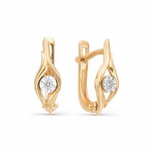 Золотые серьги с бриллиантами 21968-100 фото