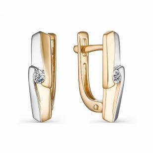 Серьги из белого и розового золота с бриллиантами 22886-100