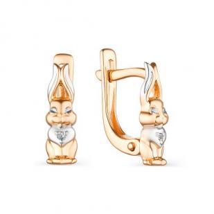 Детские золотые серьги Зайчики бриллианты фото