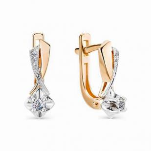 Классические серьги из розового золота с бриллиантами 2023-100
