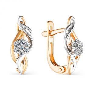 Серьги Цветочки из золота с бриллиантами 21323-100 фото