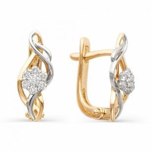 Серьги Цветочки из золота с бриллиантами 21323-100