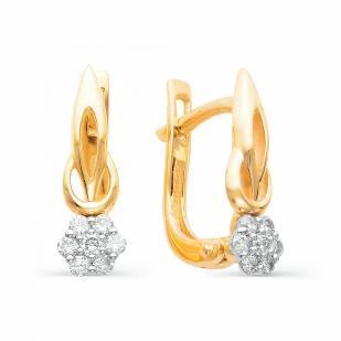 Серьги Цветочки из золота с бриллиантами 21723-100