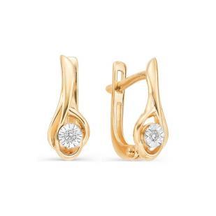 Серьги из розового золота с бриллиантами 21967-100 фото