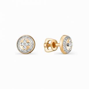 Золотые пусеты с бриллиантами 22099-100