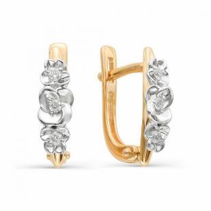 Серьги Цветочки из золота с бриллиантами 22304-100