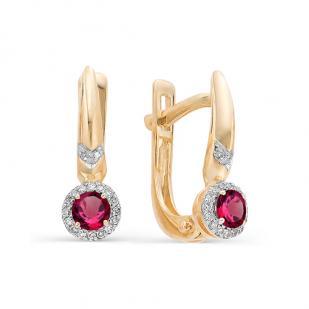 Серьги из розового золота с рубинами, бриллиантами 22329-103 фото