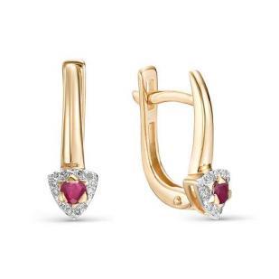 Серьги из розового золота с рубинами, бриллиантами 22511-103