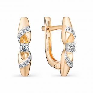 Сияющие серьги из розового золота с бриллиантами 22993-100 фото